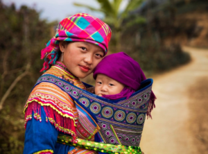 Central Asian mother with baby